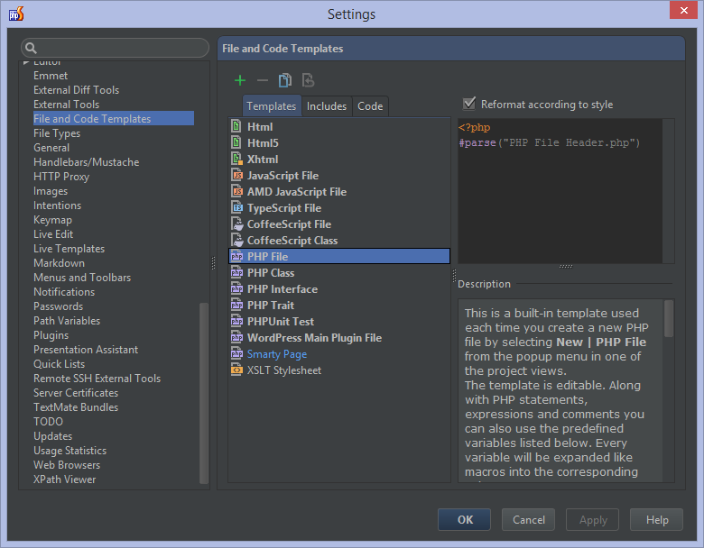 Php Template | File Templates In Phpstorm Phpstorm Confluence