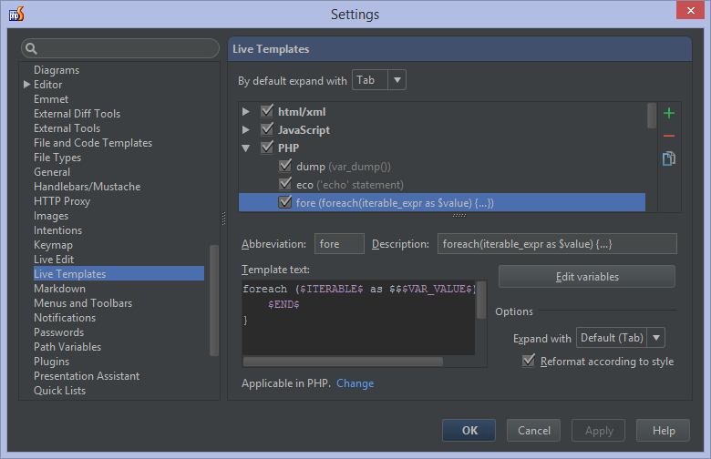 Live Templates (Snippets) in PhpStorm - PhpStorm - Confluence