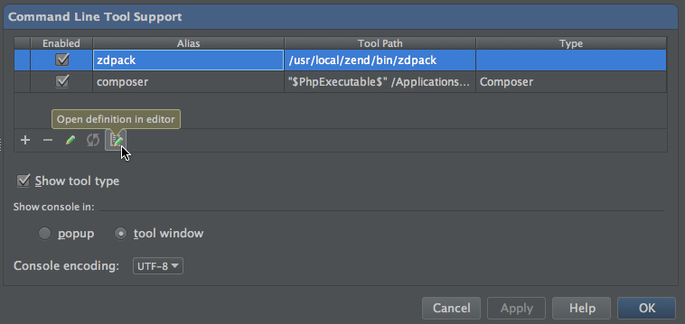 phpstorm run command how to switch projects