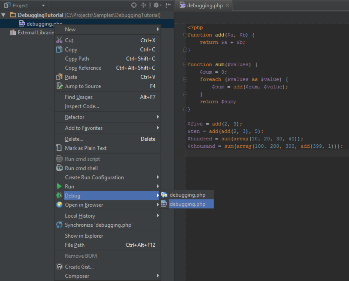 PhpStorm Can Generate A Run Debug Configuration For Script Us From The Project Tool Window Use